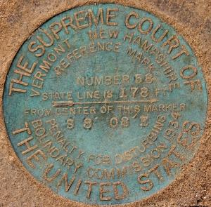 State Line marker on Vernon dam