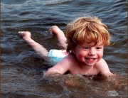Little boy swimming