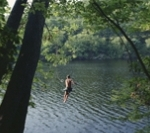 Jumping off rope swing