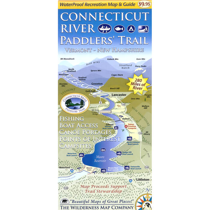 CT River Paddlers Trail Map VT-NH 700sq