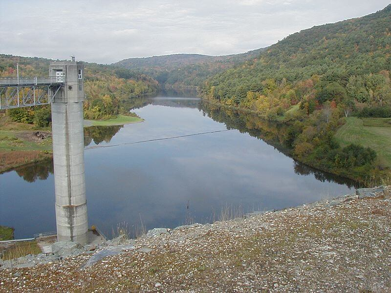 View from the top of the North Hartland Dam on the Ottaquechee River, Vermont