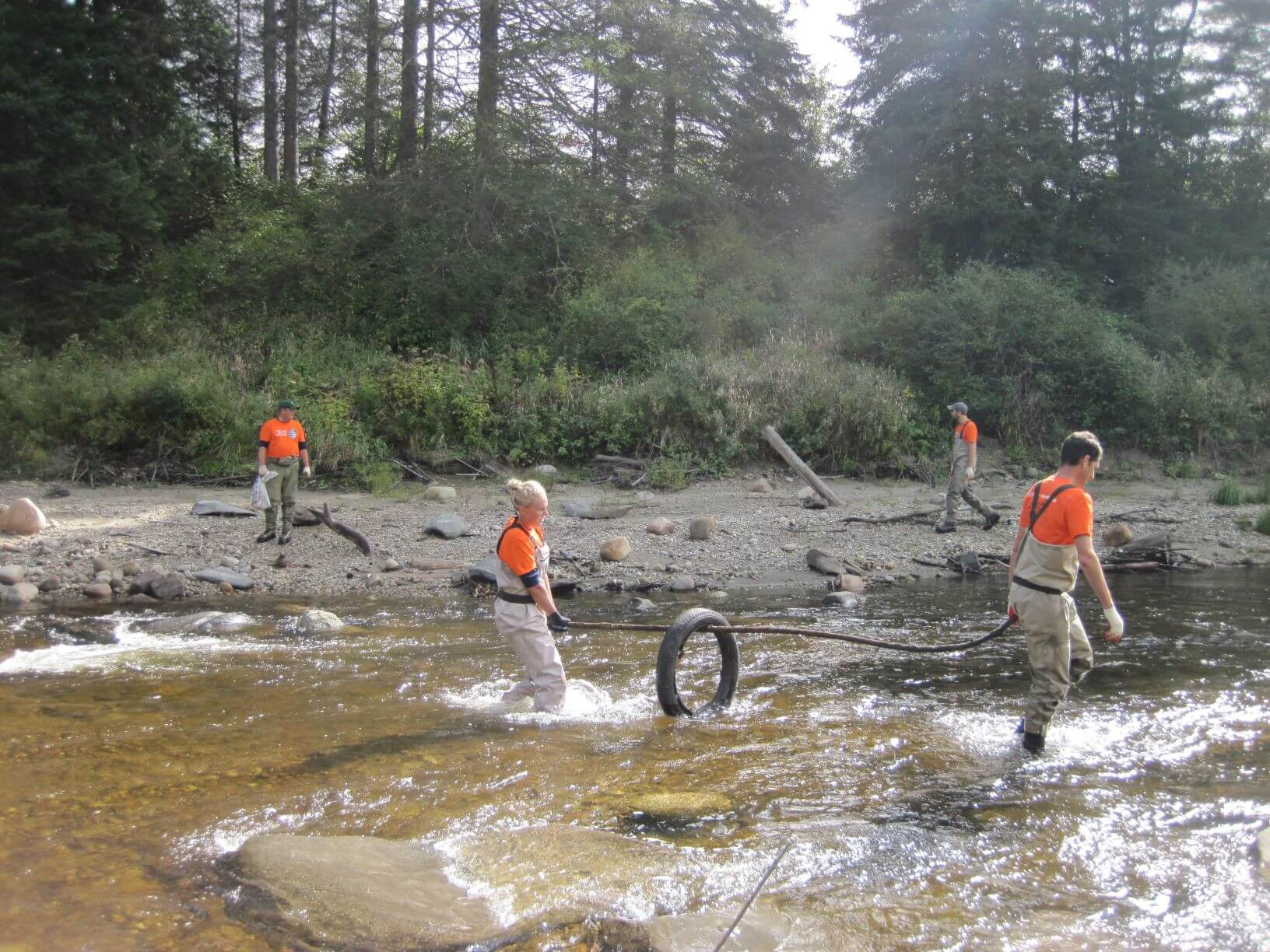 removing a tire from the passumpsic river
