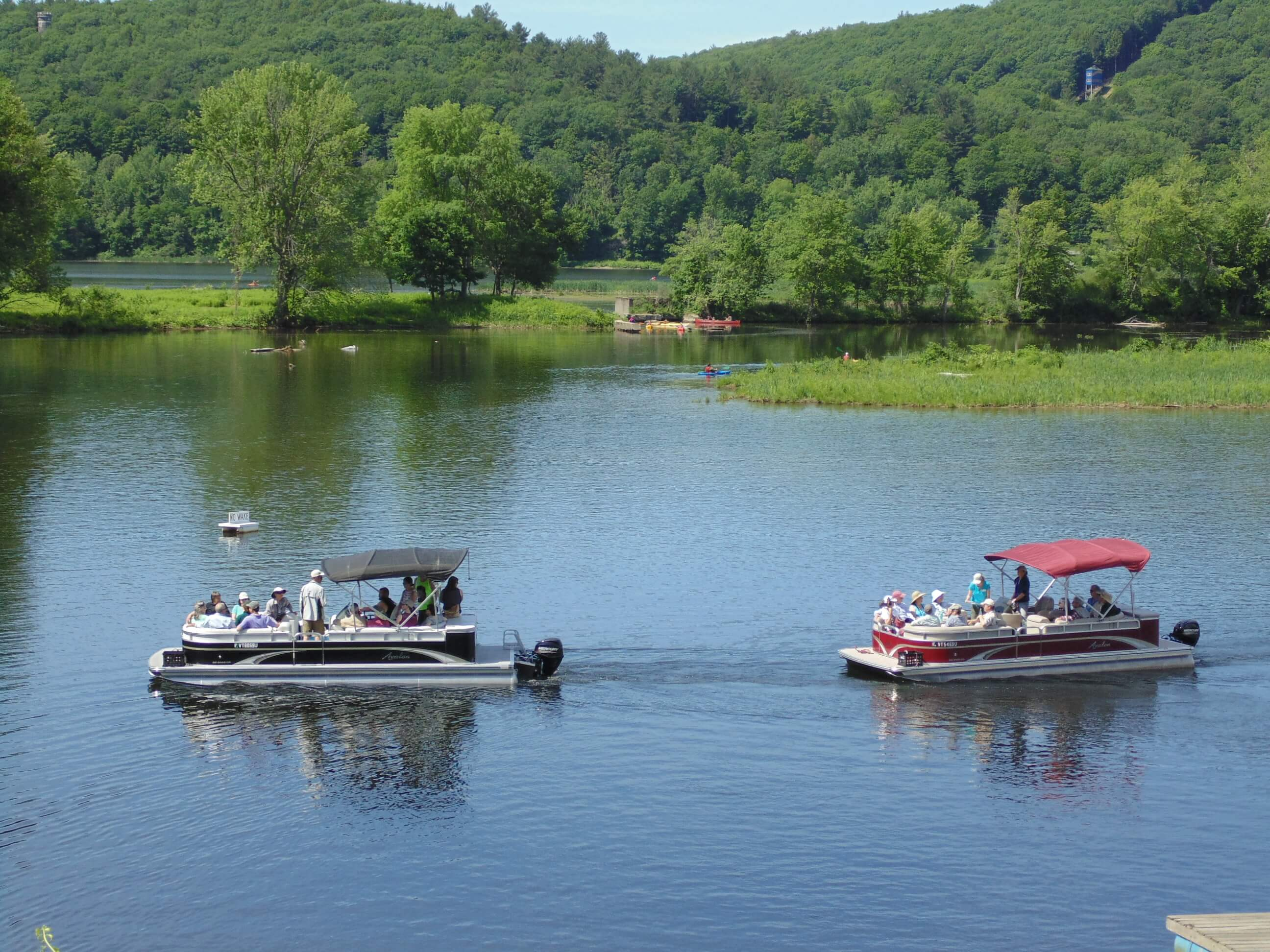 Pontoon boats on the CT River